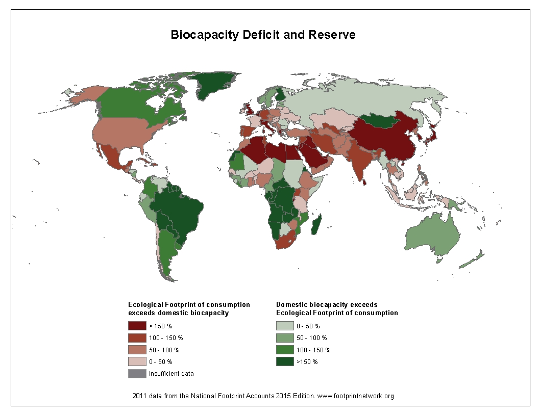 Ecological footprint: Biocapacity deficit & reserve per country