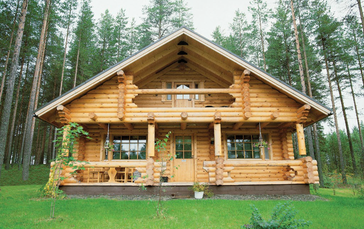 Wood log home with sauna timber frame houses Timber house