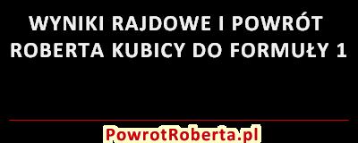 Wyniki rajdowe i powrót Roberta Kubicy do Formuły 1