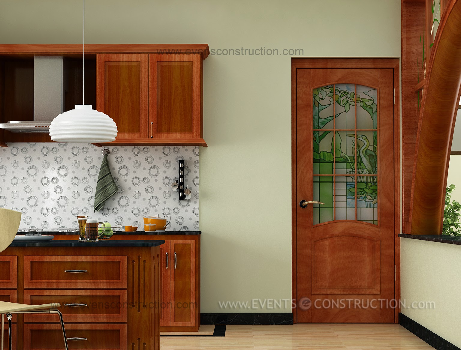 Spacious kerala kitchen interior home for Kerala style kitchen photos