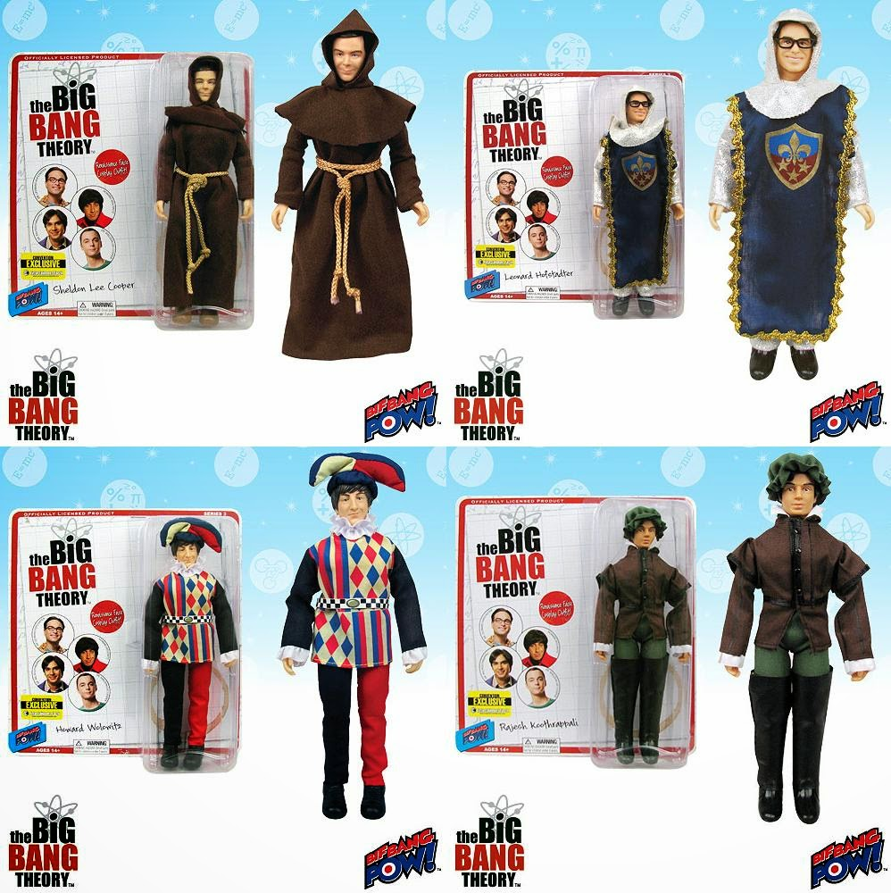 "San Diego Comic-Con 2014 Exclusive ""Renaissance Fair"" The Big Bang Theory 8"" Mego Style Action Figures - Sheldon as a Monk, Leonard as a Knight, Howard as a Jester & Raj as a Gentleman"