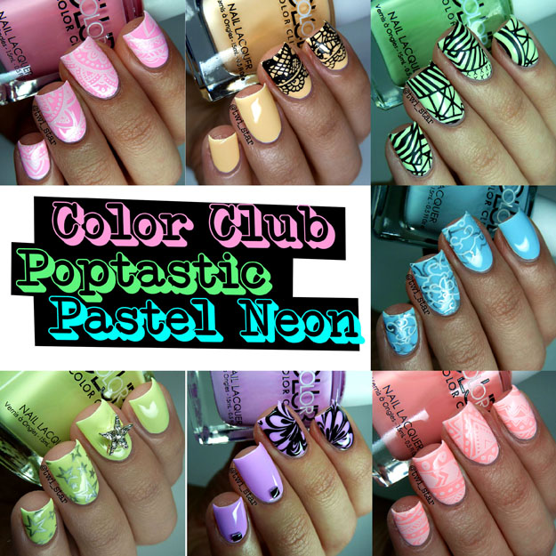 Color Clube Poptastic Pastel Neon Swatches stamping nail art