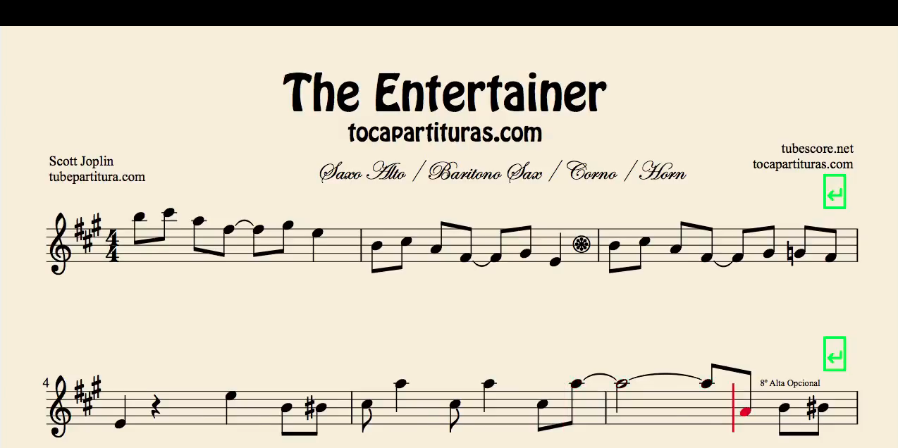 The Entertainer by Janis Joplin Partitura de Flauta, Violín, Saxofón Alto, Trompeta, Viola, Oboe, Clarinete, Saxo Tenor, Soprano Sax, Trombón, Fliscorno, chelo, Fagot, Barítono, Bombardino, Trompa o corno, Tuba...