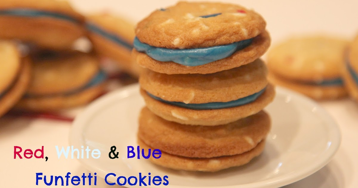 Red, White & Blue Funfetti Sandwich Cookies Recipe — Dishmaps