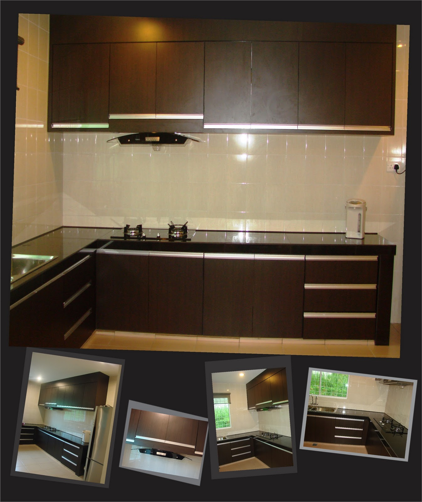Kitchen Cabinets with Dark Wood Grain