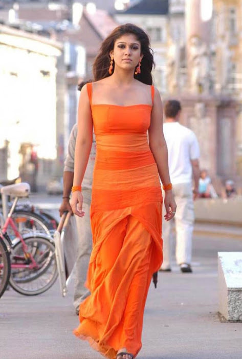 nayanthara in orange dress hot images
