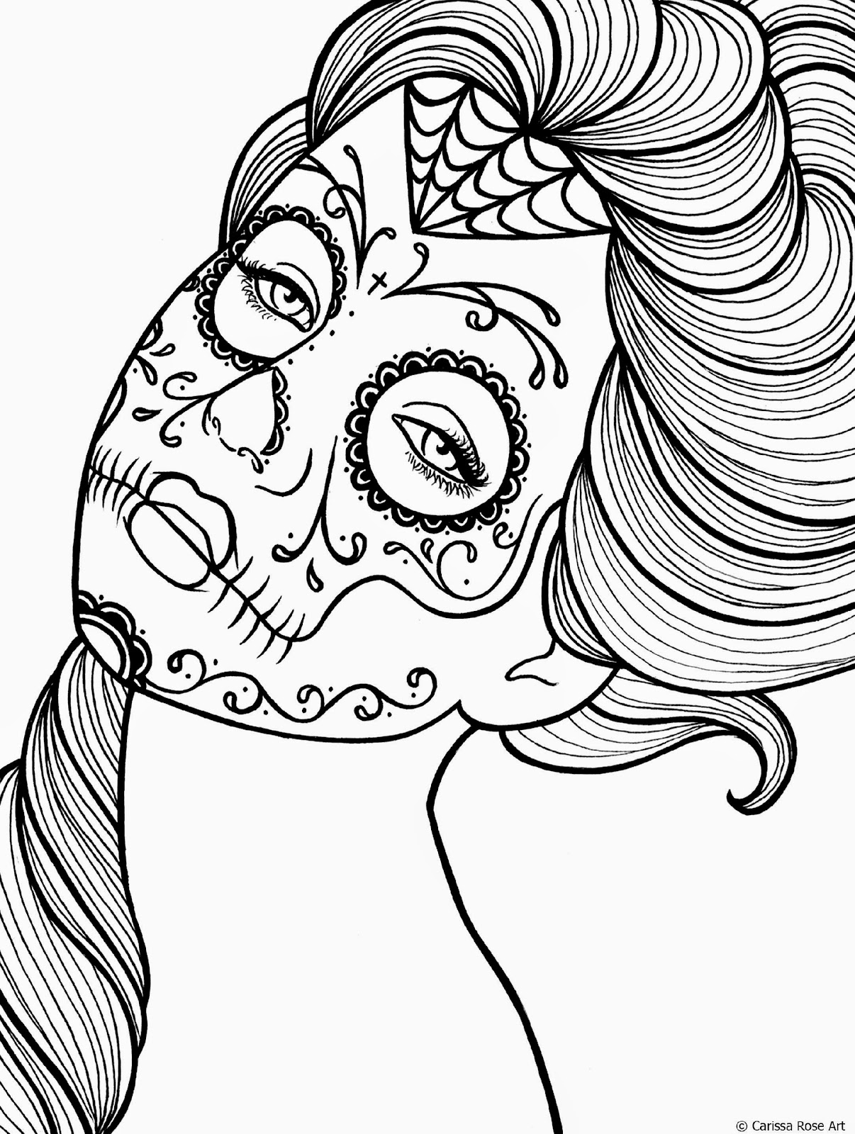 Calavera day of dead coloring coloring pages for Day of the dead color pages
