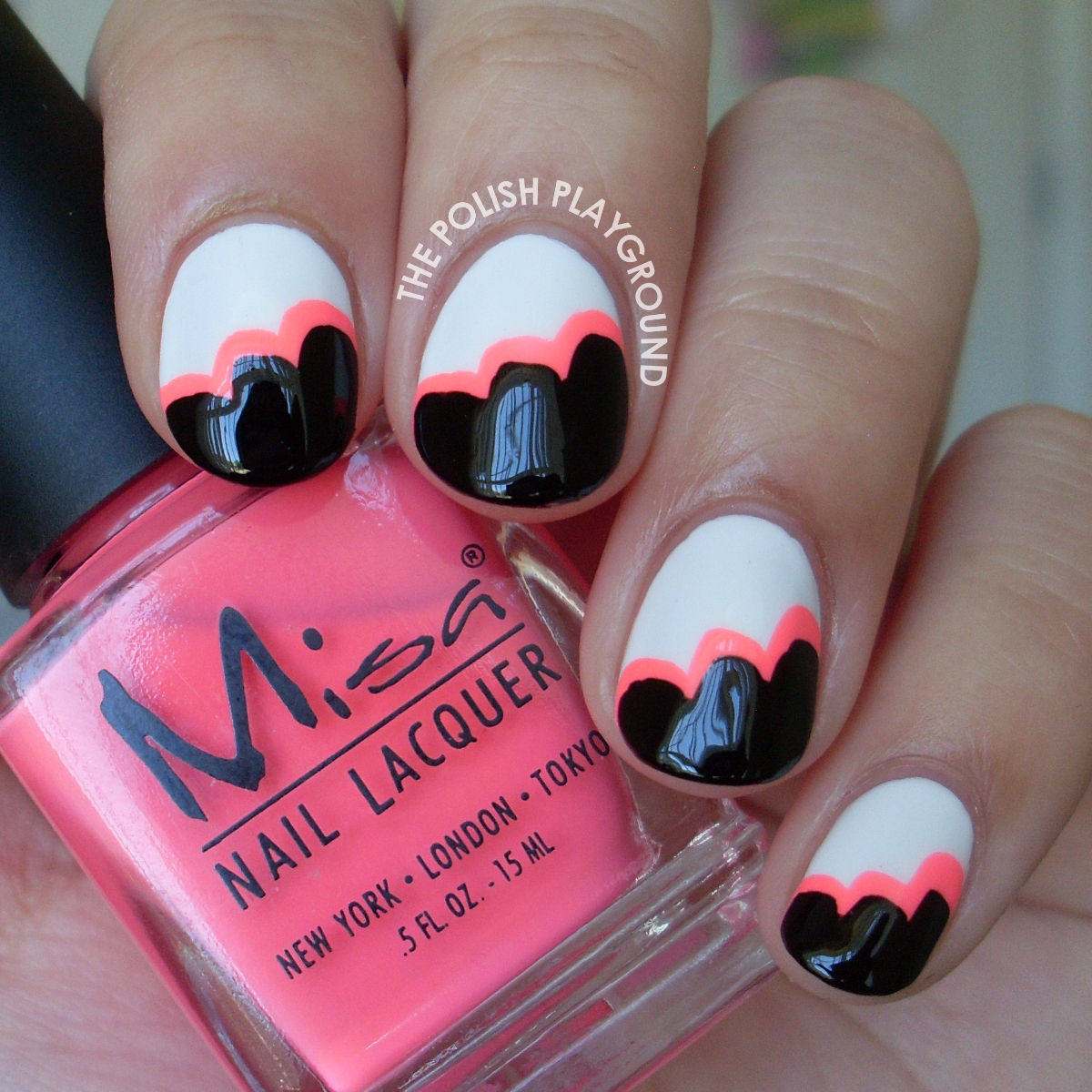 Black and White & Neon Pink Cloud Nail Art