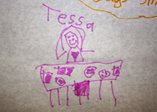 Tessa's completed pic from the wall mentioned above. Teh, heh...gotta love kid-created art.