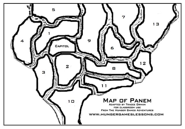 Map of Panem Tracee Orman Template Hunger Games Lessons