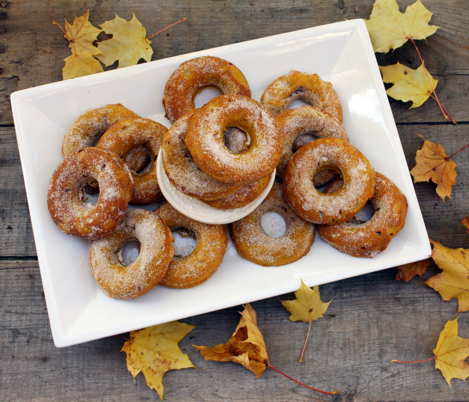 Pumpkin spice doughnuts with cinnamon sugar
