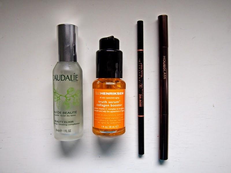 toner, serum, eyebrow pencils