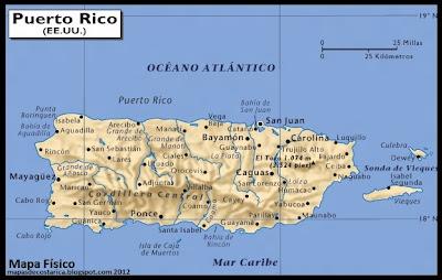Mapa físco de Puerto Rico