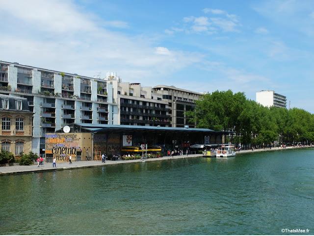 Bar exterieur 25 degrés est Paris Stalingrad canal Ourcq vue Seine bord de l'eau, vue sur la Seine et Mk2 Canal Ourcq