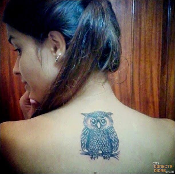 Coruja - Tatuagens Femininas nas costas