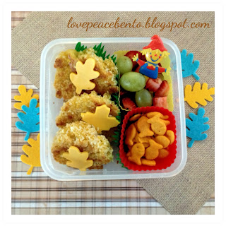Fall themed bento lunch for kids with Panko Baked Mac and Cheese