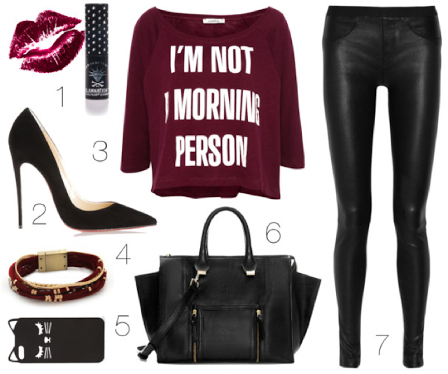 maroon polyvore outfit look lookbook leather red black bag shoes top pants fashion style ootd outfit