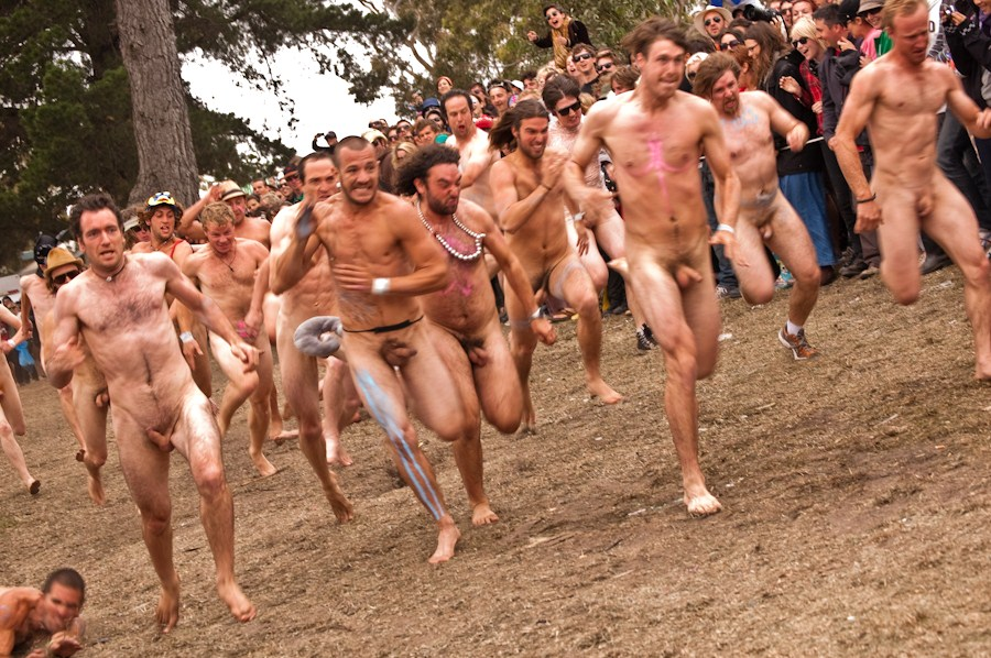 Gay man naked running