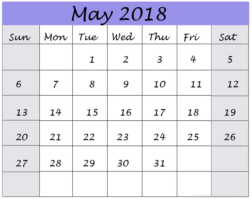 blank calendar template may 2018