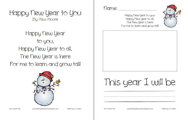 Learning New Words in ESL Kindergarten: Happy New Years! Freebie