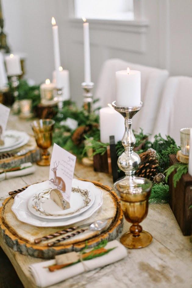 Beautiful bridal rustic winter table settings - Tables de noel decoration ...
