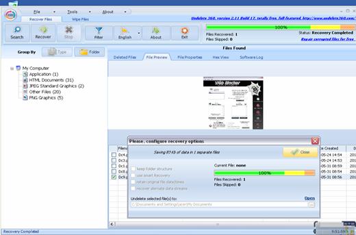 Mengembalikan File yang Terhapus dengan Undelete 360 2.11.17