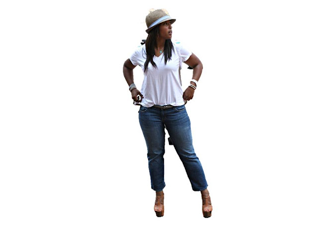 Slide1 - Cropped Jeans and White Polo Tees