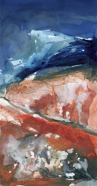 Mont Ventoux, gouache, collage, paysage abstrait