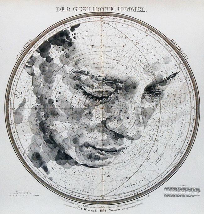 Retrato sobre mapa celeste de Ed Fairburn - Celestial Star Chart Portraits