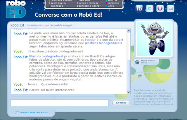 Software Meio Ambiente Aula de Informática com o Robô Ed