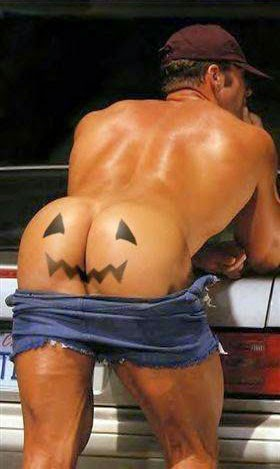 full moon on halloween - mans naked butt - jack-o-lantern-face image