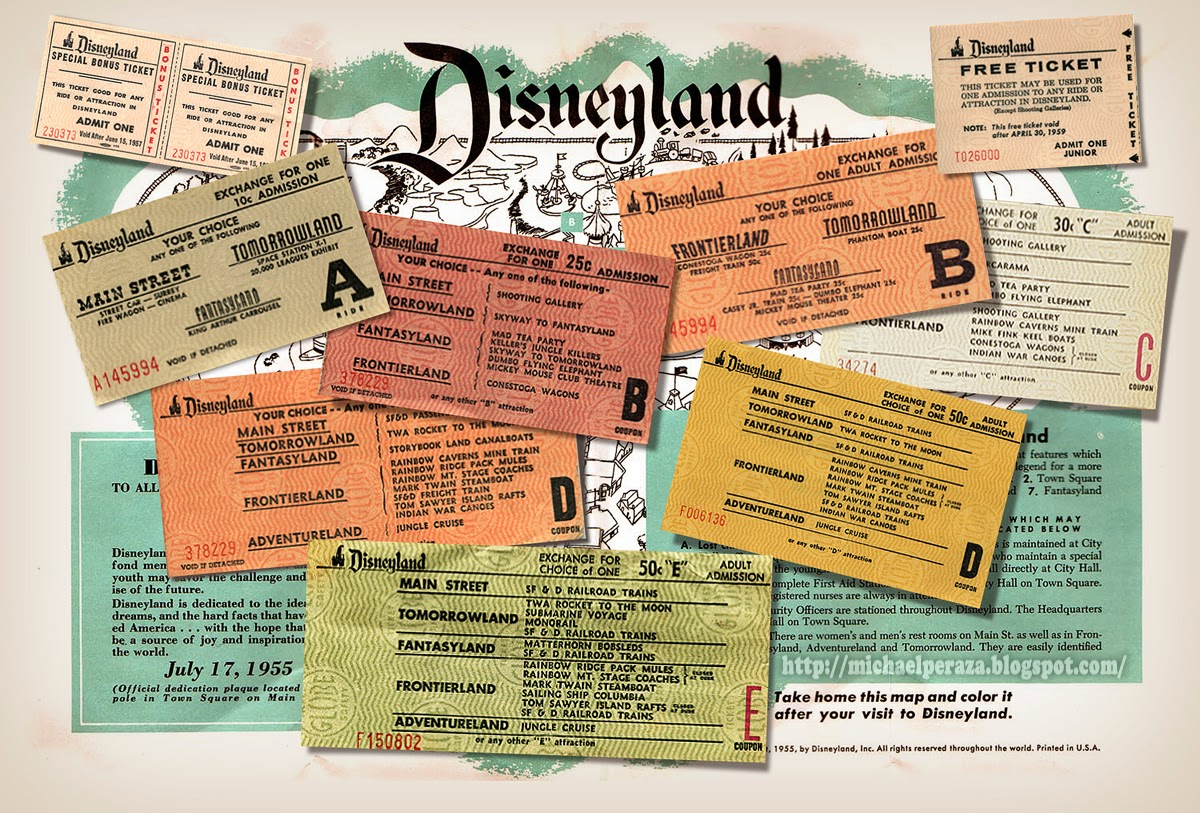 Vintage Disneyland Tickets With Free Map You Could Color