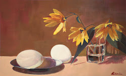 "EGGS AND SUNFLOWERS; casein; 7""x11.25""; 2017 Mary Nagel Klein"