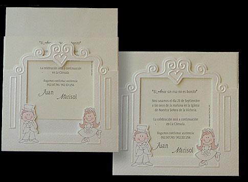 Invitación marco de fotos para boda
