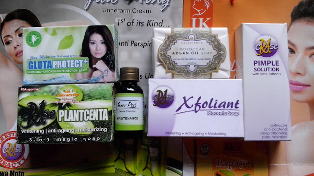Jiao Ming GlutaProtect+, eRAse Plantcenta soap, Sexa-Peel, CasaBlanca Elite Moroccan Argan Oil Soap, eRAse Xfoliant soap, eRAse Pimple Solution with Rose Extracts.