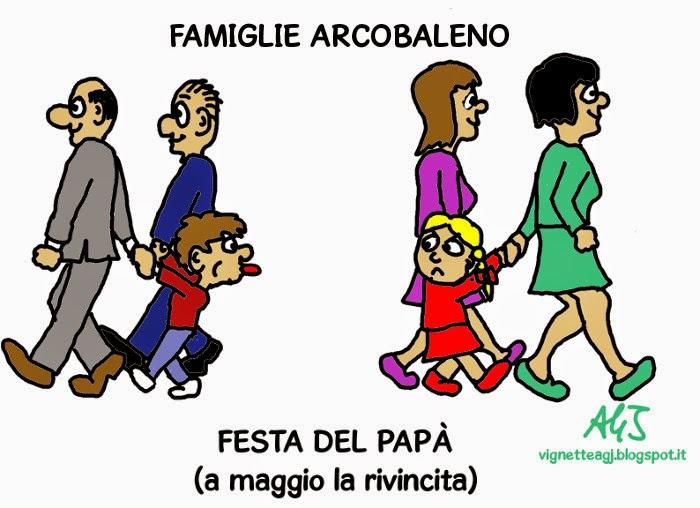 adozioni gay, famiglie arcobaleno, umorismo, festa del papà, vignetta