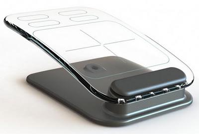 Mouse multitouch e teclado invisível feito de vidro