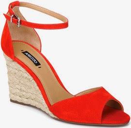 Arezzo verão sandália de camurça com salto anabela em juta
