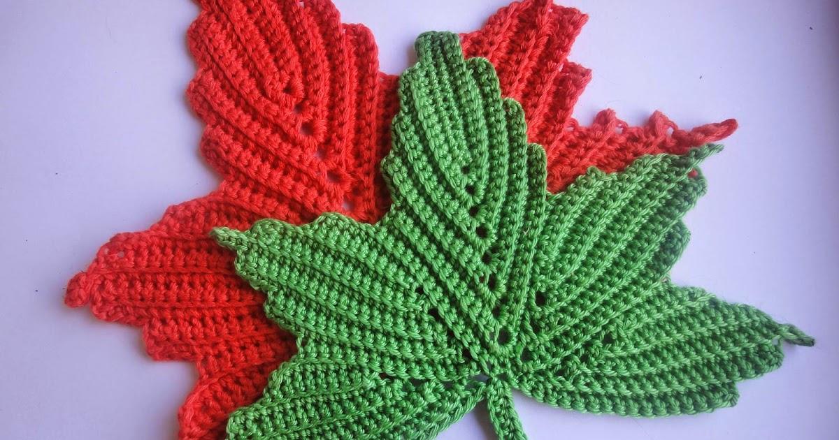 Вязание крючком листья 37