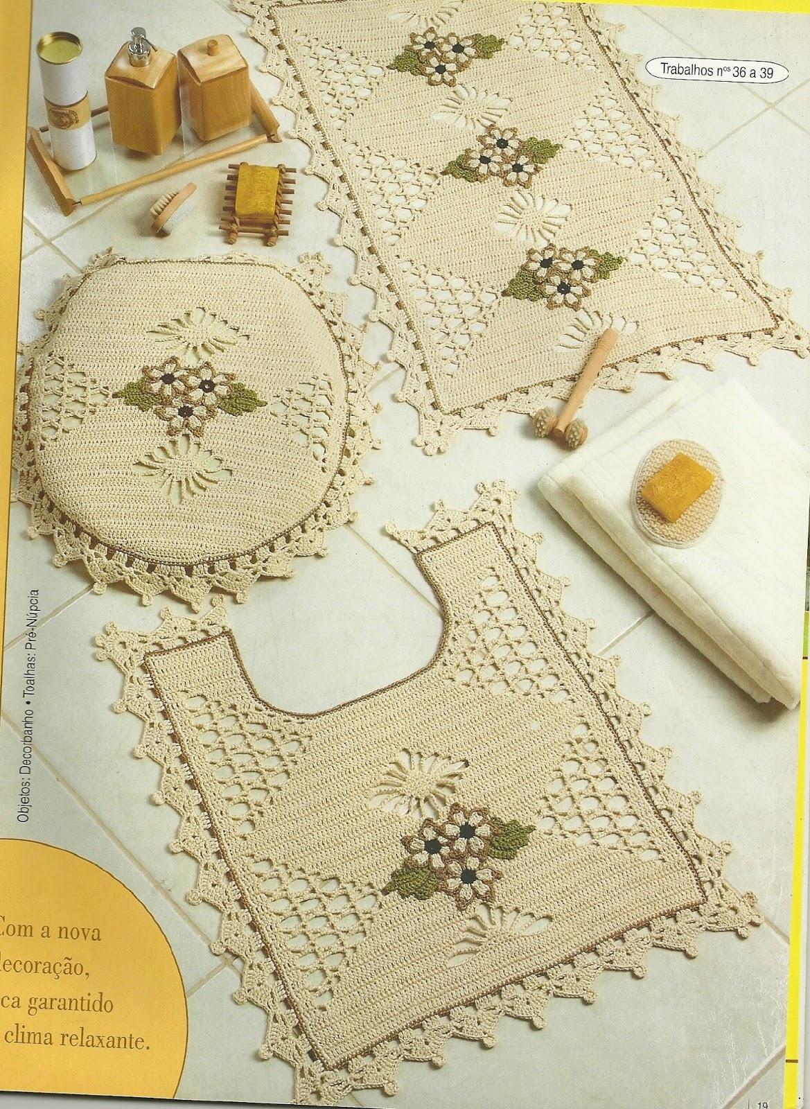 Fazendo Arte: Passo a Passo Crochê: Jogos de Banheiro Prazer em Casa #AF8A1C 1169 1600