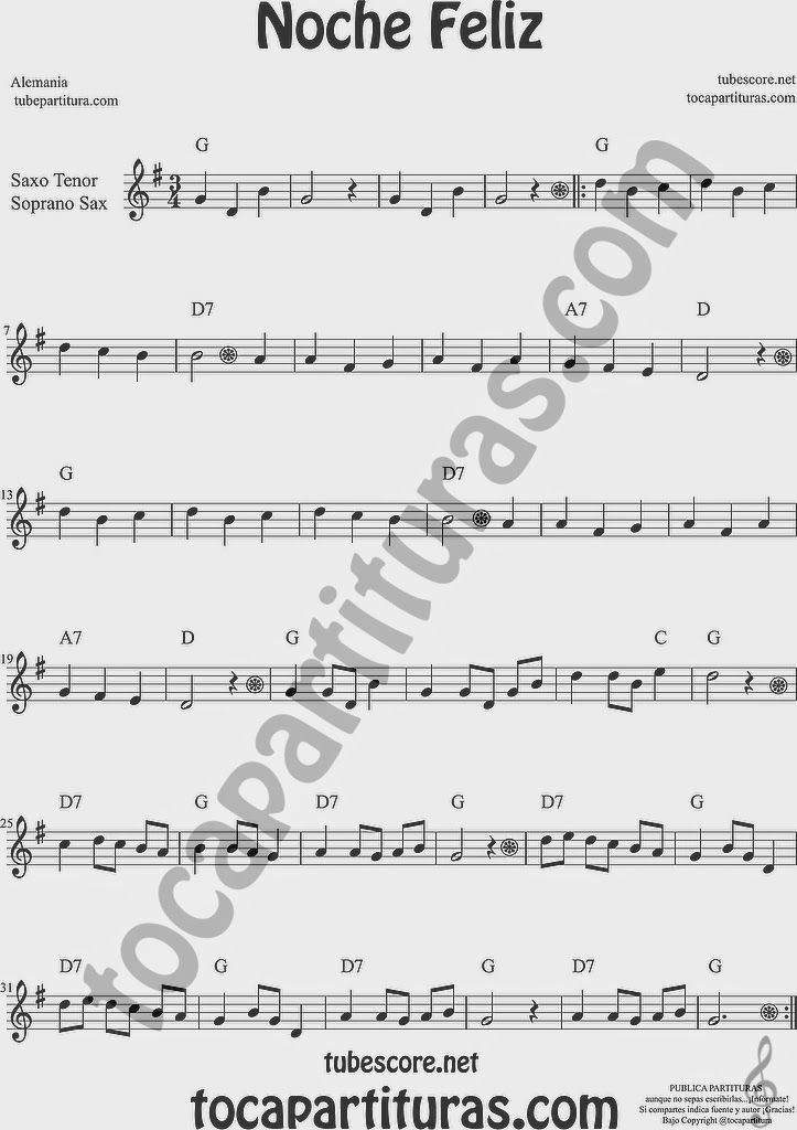 Noche Feliz Partitura de Saxofón Soprano y Saxo Tenor Sheet Music for Soprano Sax and Tenor Saxophone Music Scores