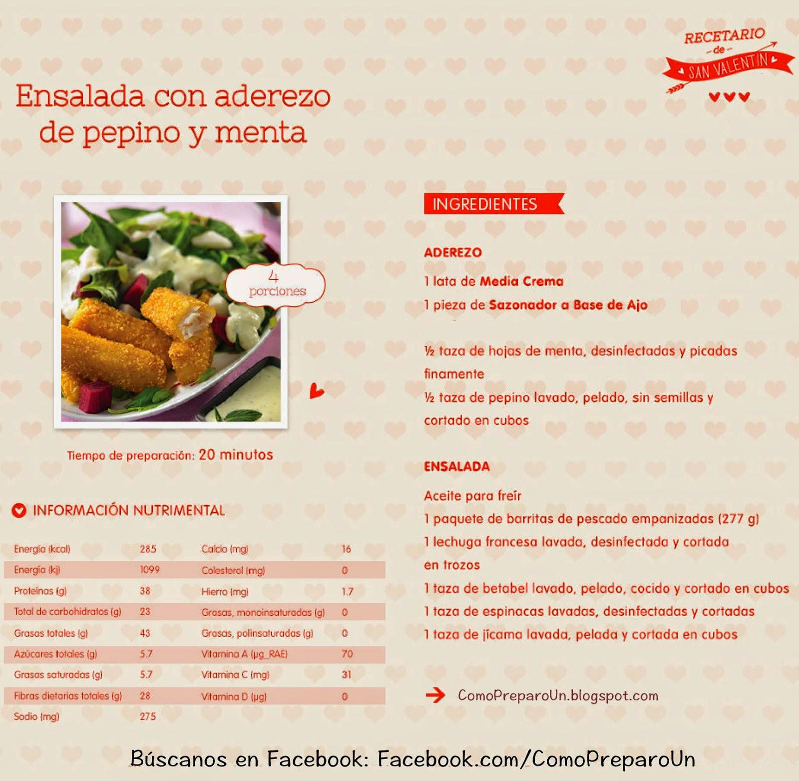 RECETAS DE COMIDAS PARA SAN VALENTIN: Ensalada con aderezo de pepino y menta COCINA FACIL