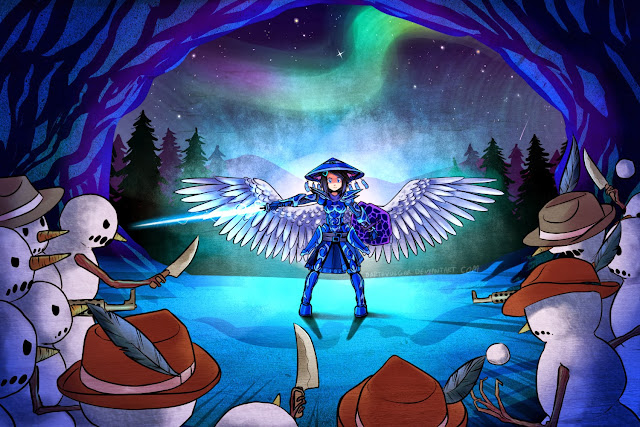 New Terraria Anime Game 2 Image Girl Ice Blue Armor Sword Knife Terraria 2