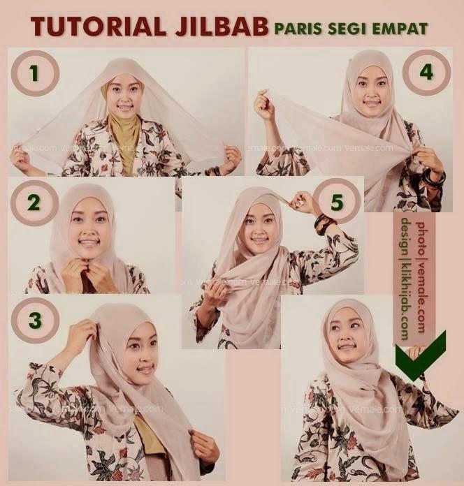 Cara Memakai Jilbab Paris Segi Empat | Tutorial Hijab Cara Memakai ...