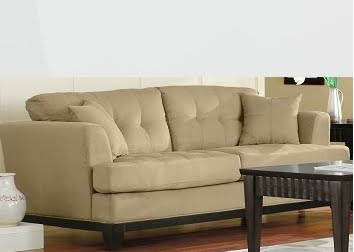 suede look, clean tailored lines, modern sofa