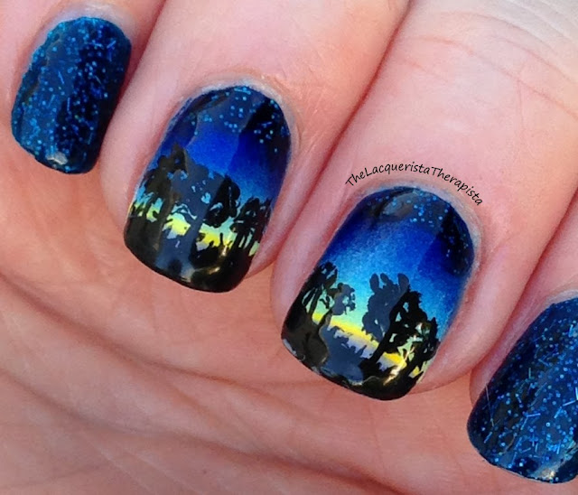 Starry Night Sky nail art