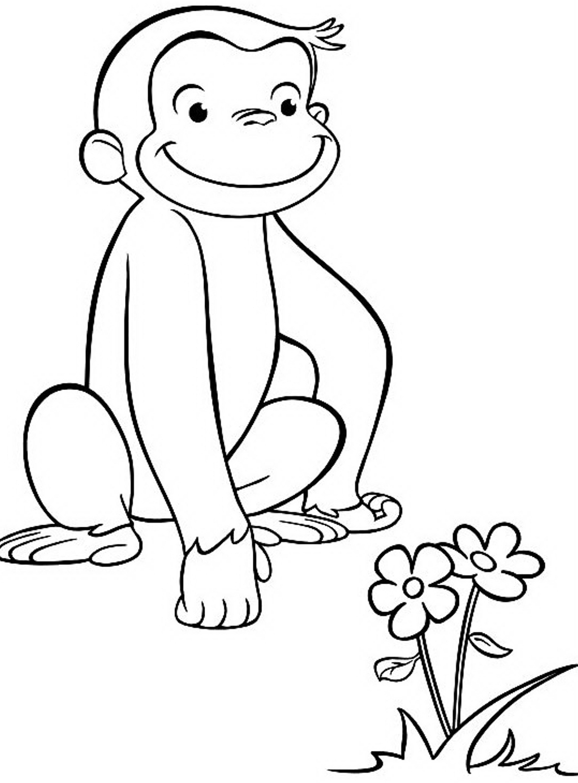 Mewarnai gambar tokoh kartun curious george si monyet yang lucu dan pintar
