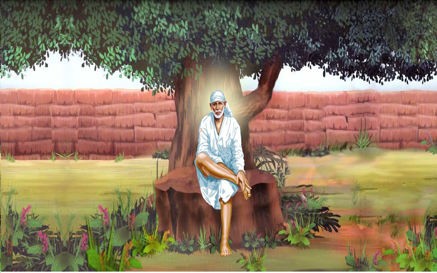 Best Wallpaper Lord Sai Baba - Sai+Baba+Sitting+Under+Need+Tree  Perfect Image Reference_2735100.jpg