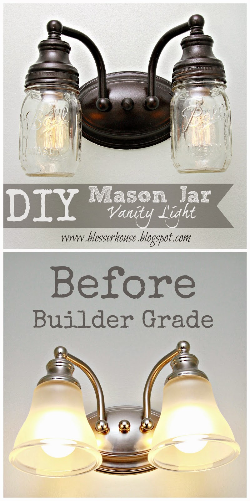 Diy mason jar vanity light blesser house i am bound and determined to change up our builder grade basic materials in our home to make it more us and let it have some personality arubaitofo Gallery