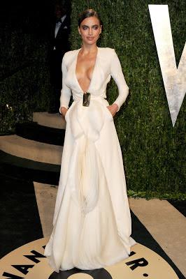 Irina Shayk wearing Stephane Rolland white gown when attending 2013 Vanity Fair Oscar party